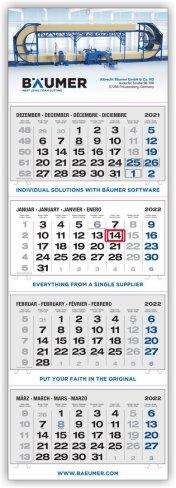 4-Monatskalender grau/blau Plus-Kalender Hersteller