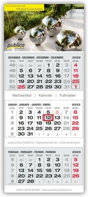 3-Monatskalender grau/schwarz/rot PLUS-Kalender Hersteller