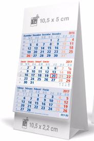 Kalendarium blau-weiß-blau mit roten Sonntage mit Rückseite das jahreskalendarium