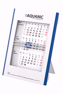 Plastik Tischkalender weiß mit blauen Zierleisten