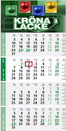 Logic 4-Monatsplaner Post A mit grünen Sonn- und Feiertagen