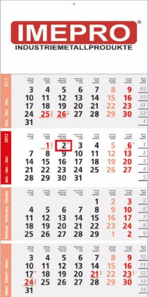 Logic 4-Monatsplaner Post A mit roten Sonn- und Feiertagen