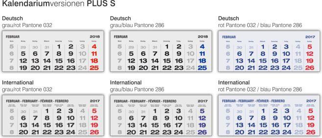 Kalendariumsverisonen 3-Monatskalender PLUS S
