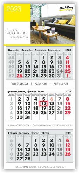 3-Monatskalender Plus TOP grau-weiß-grau mit roten Sonn- und Feiertagen