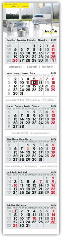 6-Monatskalender Plus grau-weiß-grau mit roten Sonn- und Feiertagen
