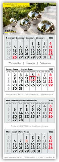 4-Monatskalender Plus grau-weiß-grau mit roten Sonn- und Feiertagen