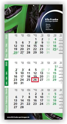 Einblatt-Monatskalender Logic 3 blau