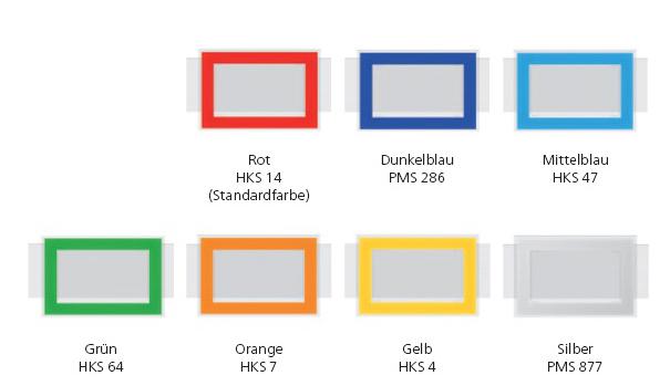 Datumsschieber Sonderfarbe grün, dunkelblau, mittelblau, orange, gelb, silber auf Monats-Planer