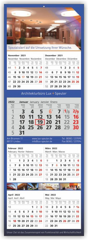 7-Monats-4-Block-Kalender/Planer 345x990mm